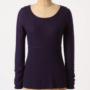 ANTHROPOLOGIE GUINEVERE Lozenge Wool Blend Sweater